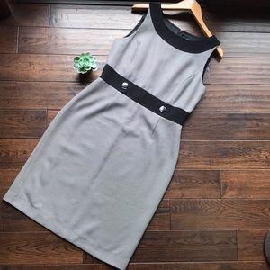 Tahari black jacquard sheath dress - day or night!